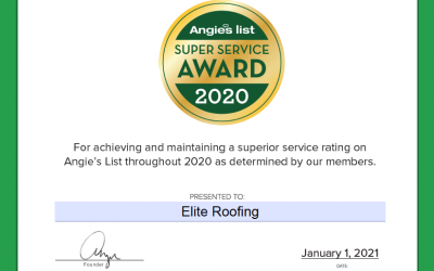 Elite Roofing Earns 2020 Angie's List Super Service Award