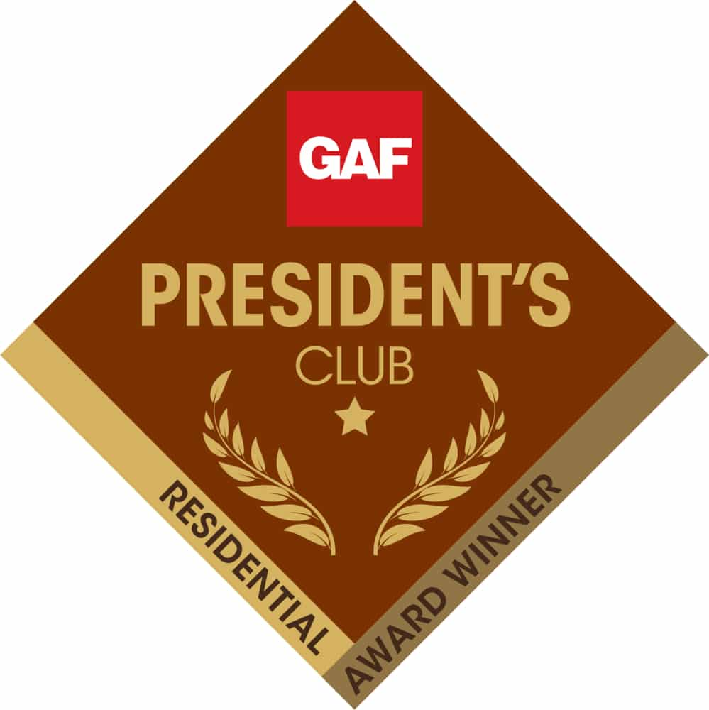 Official logo for the best roofing companies - GAF President's Club Award